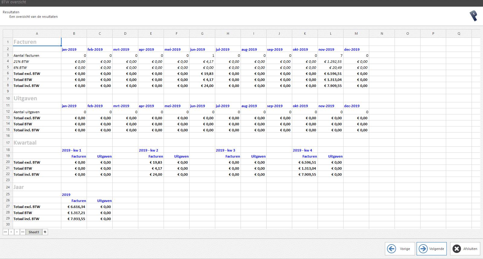 PERIFACT Excel BTW overzicht