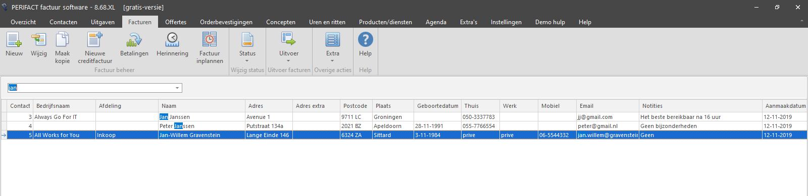 PERIFACT factuurprogramma, filter en zoeken