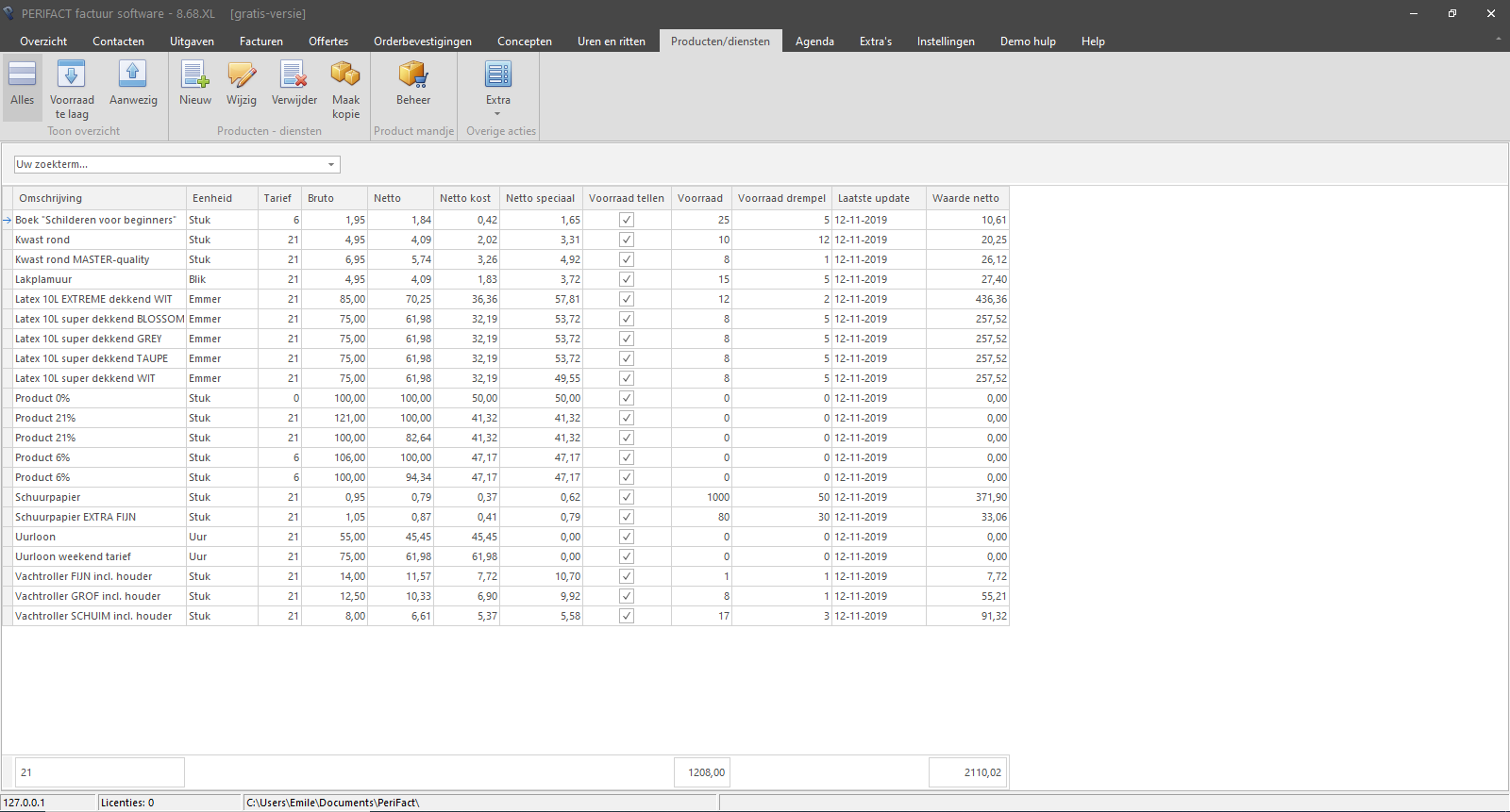 PERIFACT overzicht scherm producten en diensten inclusief de huidige voorraad