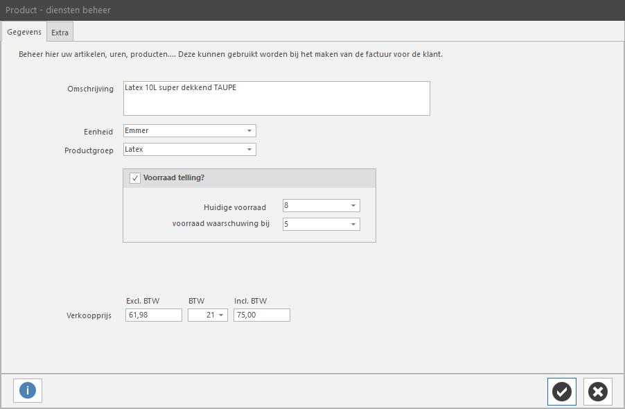 PERIFACT factuur programma van ZZP tot MKB -  Product /diensten beheer hoofdscherm