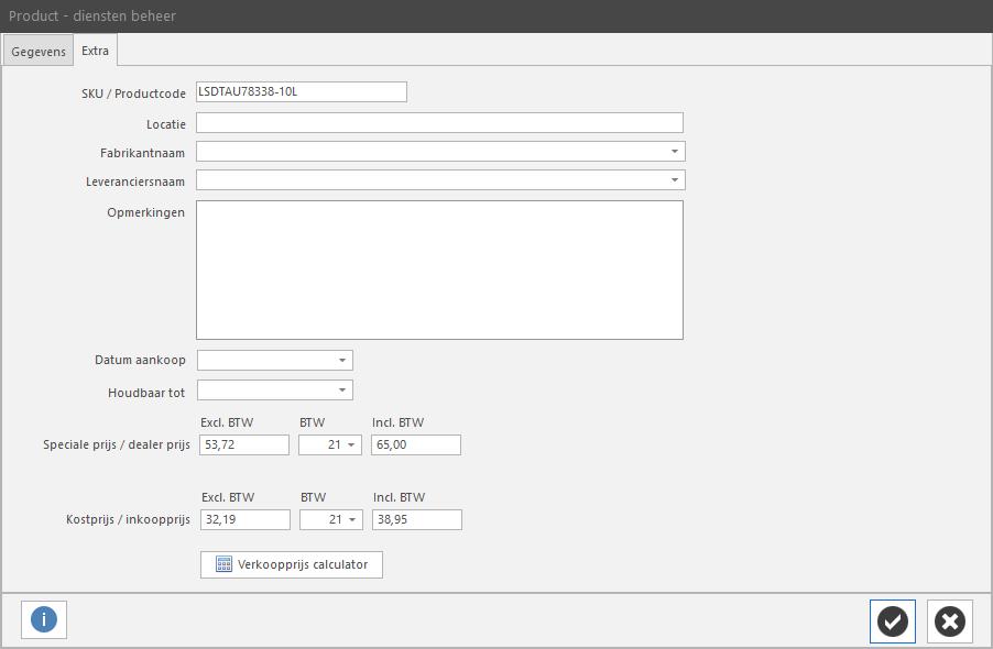 PERIFACT factuur programma van ZZP tot MKB -  Product /diensten beheer 2e tabblad