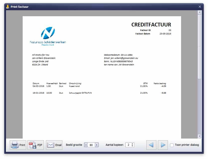 Voorbeeldscherm print creditnota