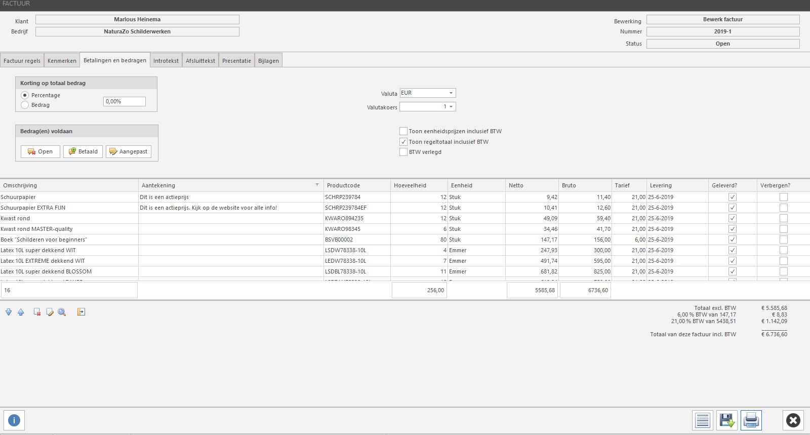 PERIFACT factuur software, factuur maken tabblad betalingen en bedragen