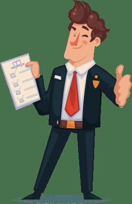 Cartoon - man met duim omhoog die het factuurprogramma PERIFACT aanprijst