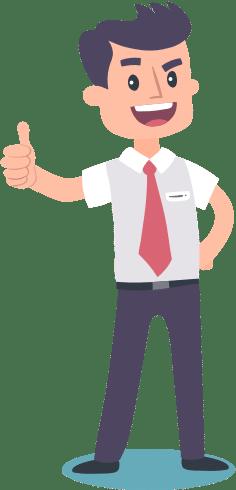 Cartoon - mannetje met duim omhoog die het factuurprogramma PERIFACT aanprijst