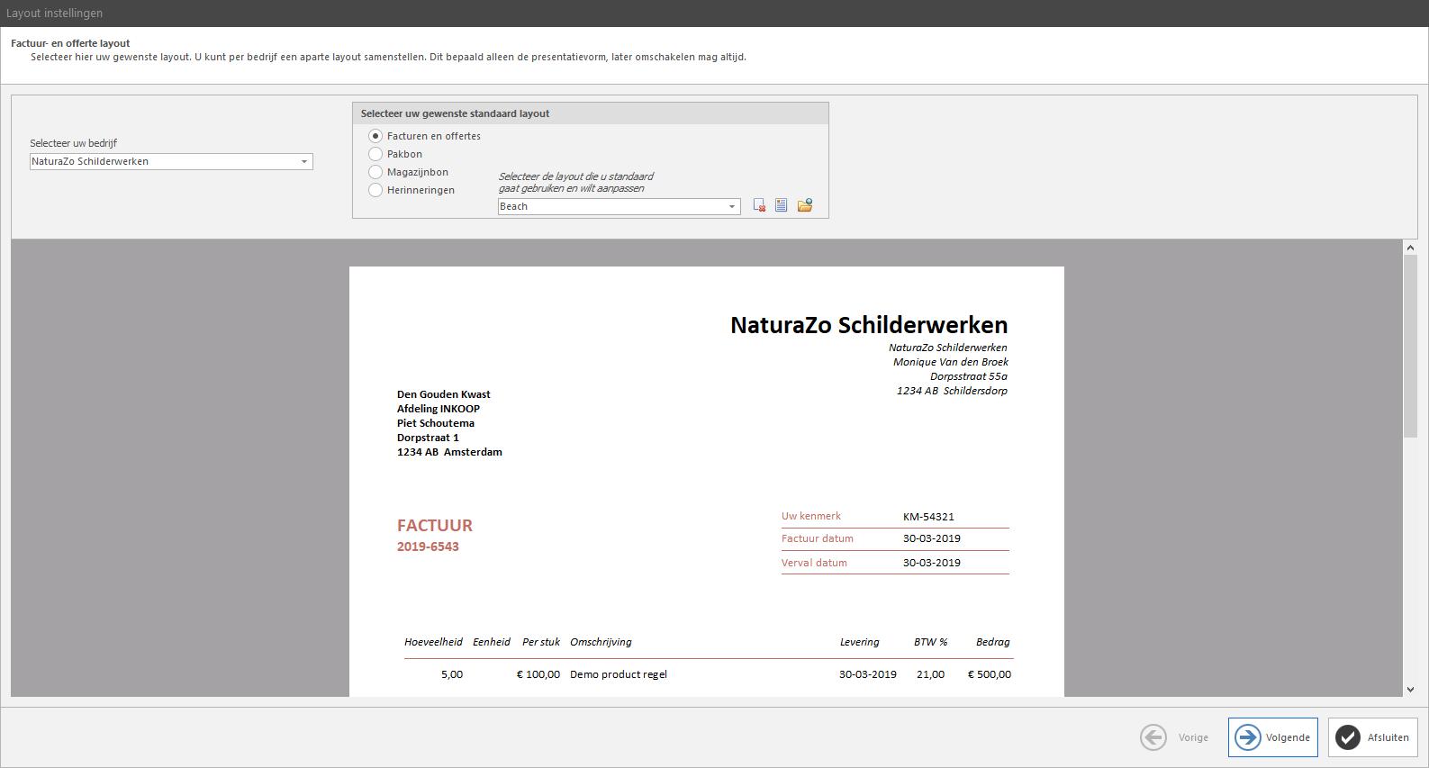 PERIFACT factuur programma van ZZP tot MKB -  Aanpasbare layouts