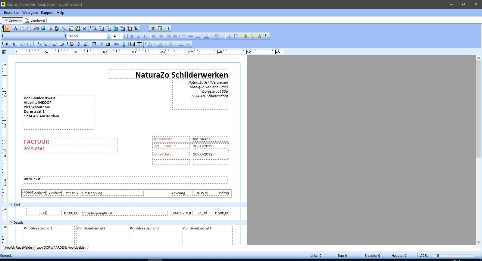 PERIFACT factuur programma van ZZP tot MKB -  Aanpasbare layouts via de geavanceerde rapport bouwer