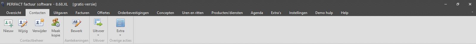 PERIFACT factuur programma, menu onderdeel CONTACTEN