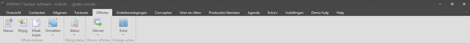 PERIFACT  factuurprogramma, menu offertes