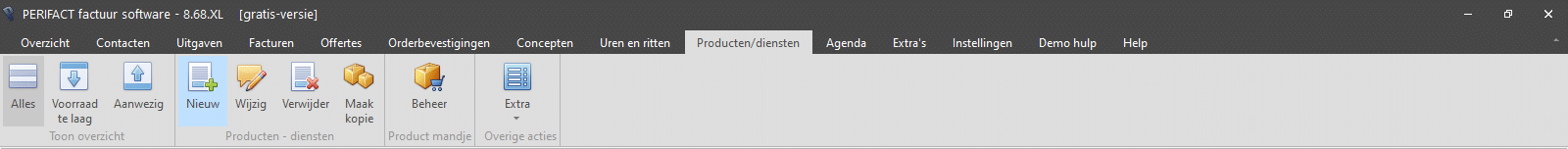 PERIFACT menu producten en diensten met voorraad overzicht