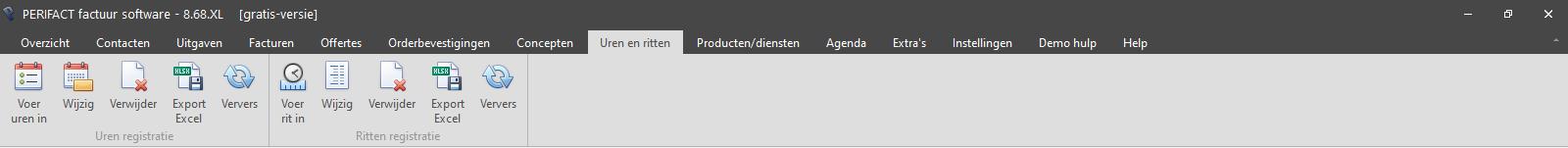 PERIFACT factuur software, menu onderdeel uren en ritten administratie