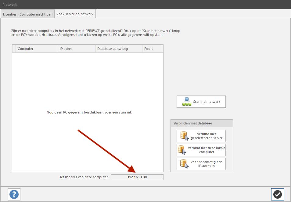 PERIFACT factuurprogramma, zoek server op netwerk