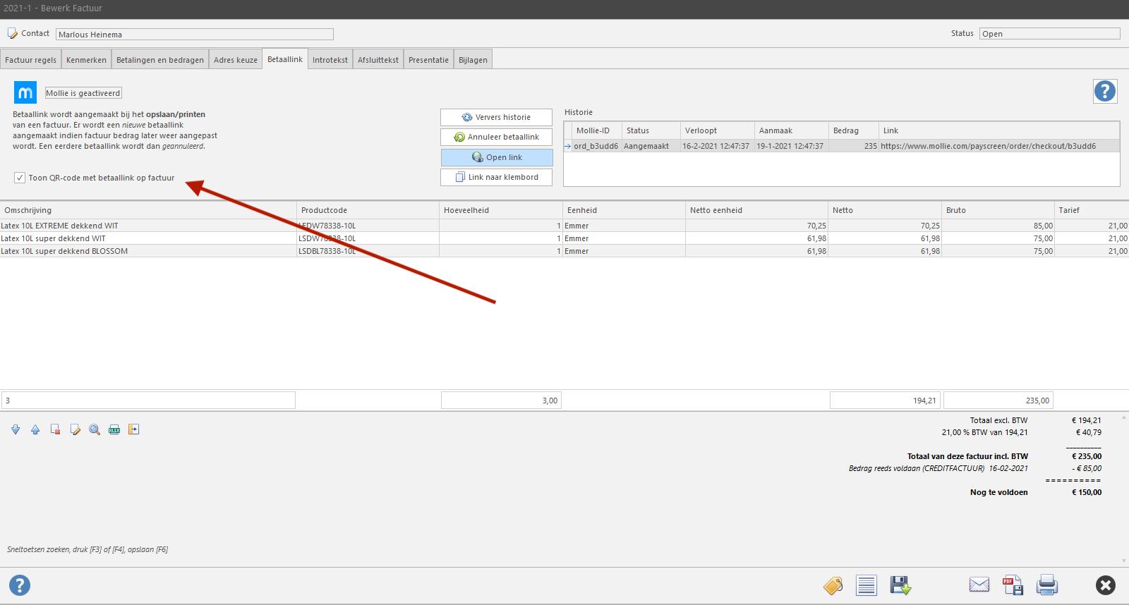 Activeer QR-code optie bij het maken van een factuur