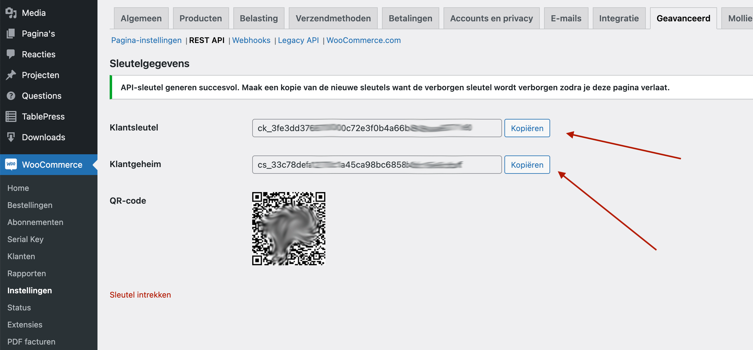 WooCommerce kopieer de klantsleutel en klantgeheim naar PERIFACT