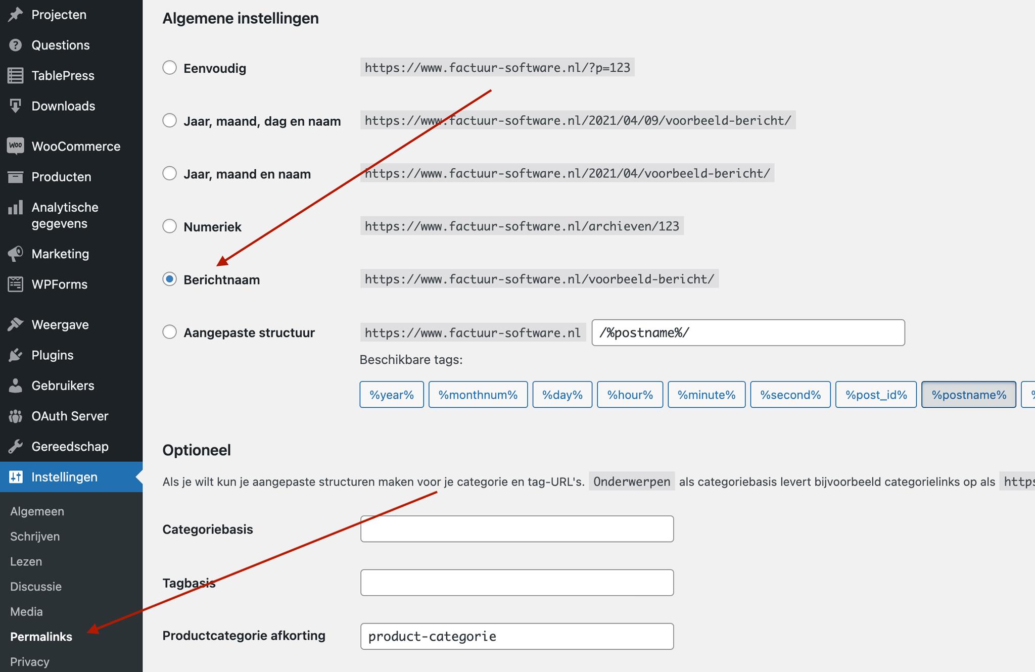 Wordpress permalinks instellen